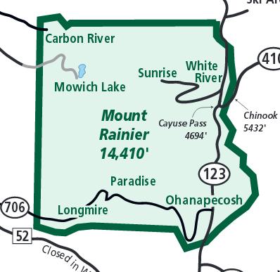 Detailkarte Mount Rainier des NPS