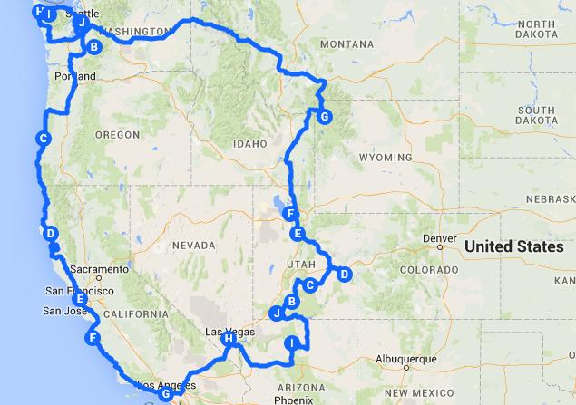 Karte Gesamte Route Westen